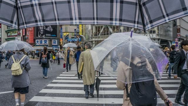 雨の日にすれ違う人々