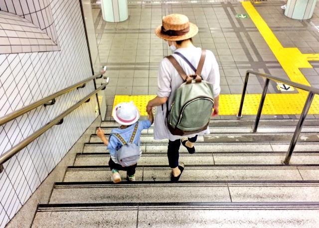 階段と家族